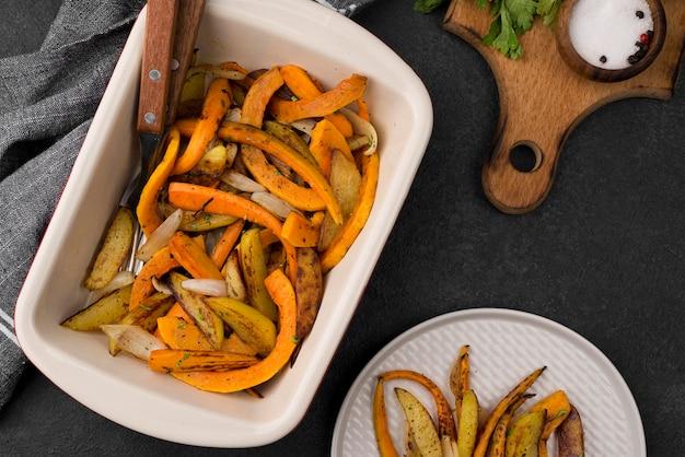Deliciosa composição alimentar de outono plana