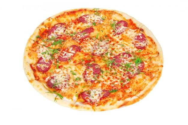 Deliciosa pizza com salame e queijo