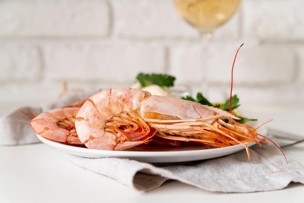 Deliciosa refeição de camarão close-up
