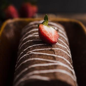 Deliciosa sobremesa de chocolate com morango