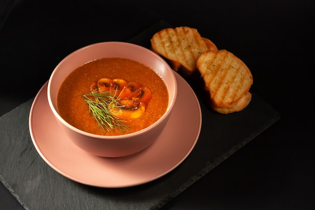 Deliciosa sopa de cogumelos com endro e torradas fritas na mesa. vista superior horizontal superior