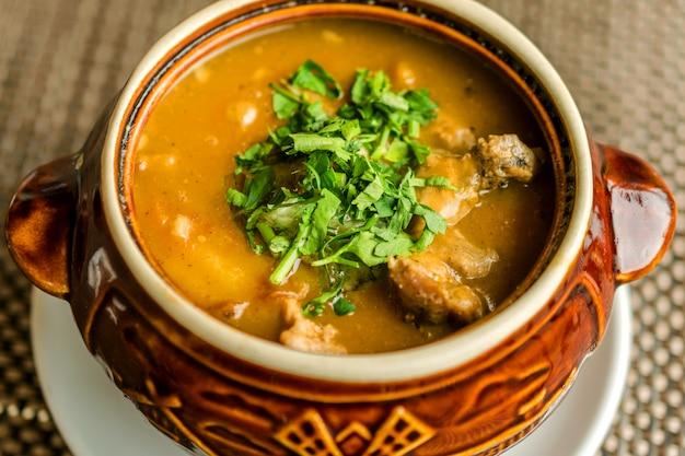 Deliciosa sopa de goulash caseira com carne e salsa picada. em louça de cerâmica.