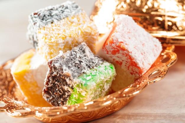 Deliciosas delícias turcas coloridas