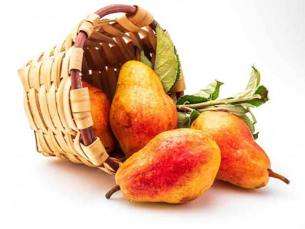 Deliciosas peras vermelhas na cesta de vime. isolado.