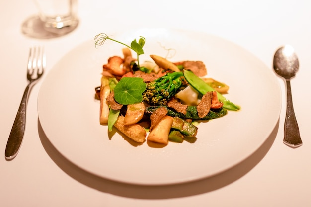 Delicioso aperitivo vegetariano, mistura de vegetais frescos e cozidos com trufas, cogumelos e aspargos (foco seletivo)