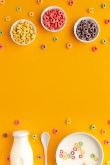 Delicioso café da manhã cereais com espaço para texto
