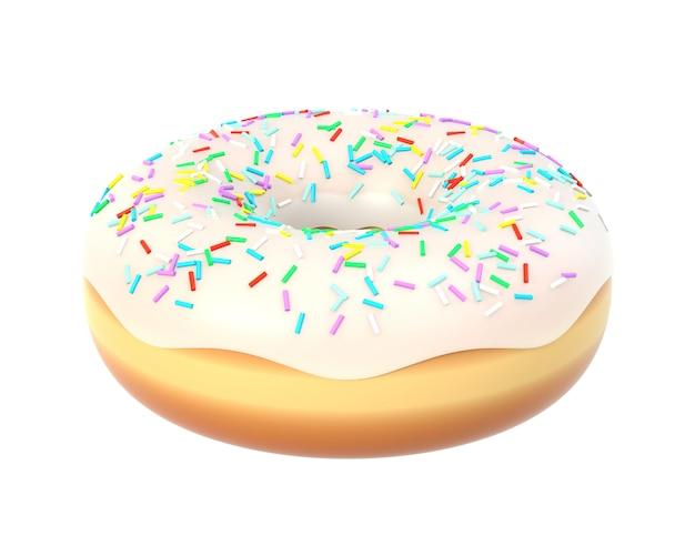 Delicioso donut com cobertura de baunilha e granulado