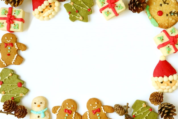 Delicioso porta-retrato de variedade de biscoitos de natal