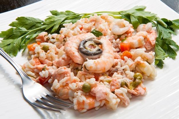 Delicioso risoto com frutos do mar