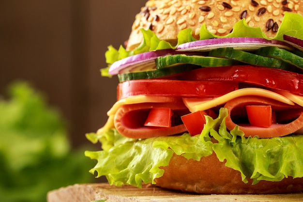 Delicioso sanduíche de presunto, queijo e salame