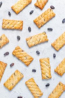 Deliciosos biscoitos com passas