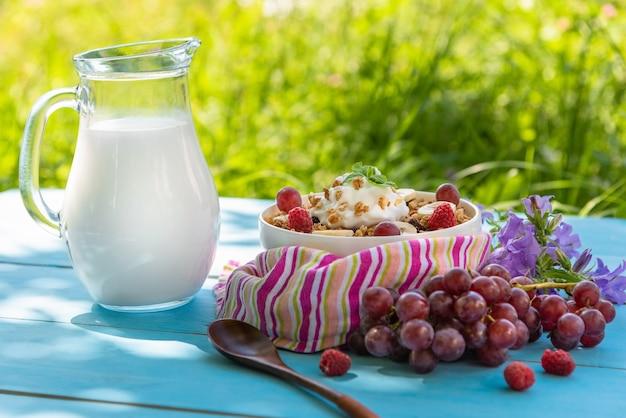 Deliciosos cereais matinais com frutas.