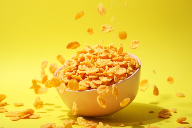 Deliciosos flocos de milho caindo em um prato sobre um fundo colorido