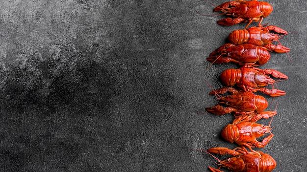 Deliciosos frutos do mar lagosta copiar espaço