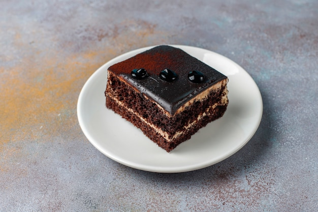 Deliciosos mini bolos caseiros de chocolate, vista superior