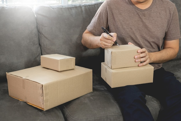 Delivery business small and medium enterprise (smes) workers packaging box