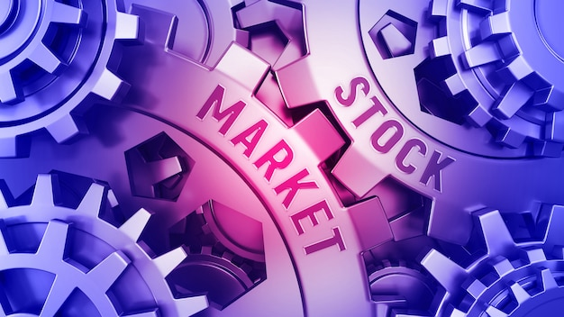 Dentadas douradas com palavra ações e mercado. conceito de negócios.