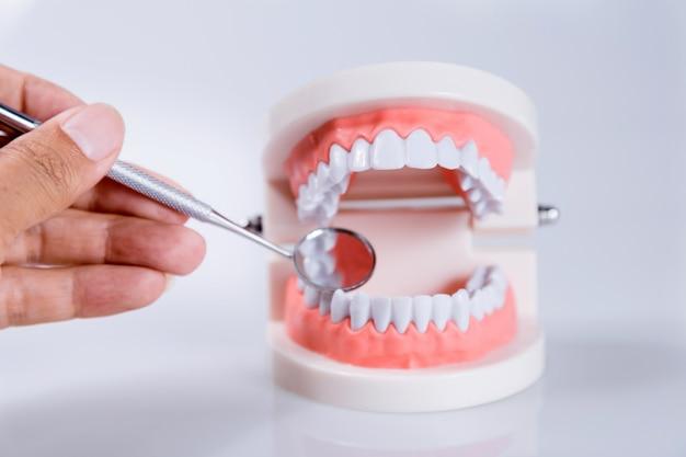 Dental, conceito, equipamento saudável, ferramentas, cuidado dental