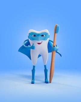 Dente como super-herói com escova de dentes de madeira. renderizar ilustração 3d