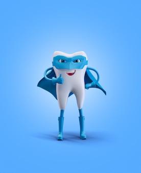 Dente como super-herói. renderizar ilustração 3d