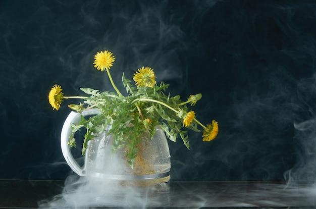 Dente de leão com raízes e folhas em um bule de vidro em um escuro na fumaça