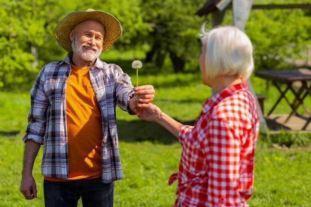 Dente-de-leão para esposa. marido aposentado sorridente e carinhoso usando chapéu de palha dando dente de leão para sua esposa