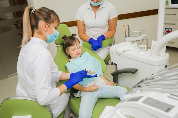 Dentista e menina olhando para dentaduras
