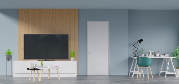 Dentro da casa que tem tv no armário na sala moderna tem lâmpada, flor, livro e local de trabalho, renderização em 3d
