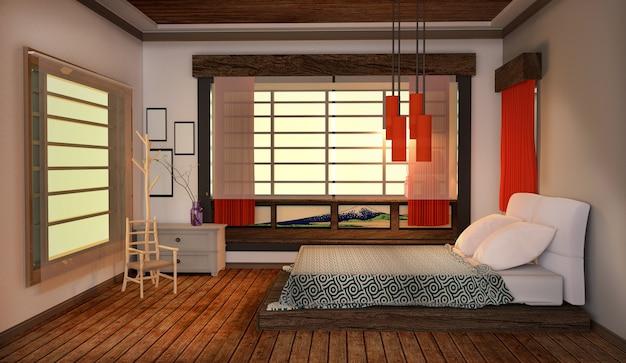 Dentro do quarto - estilo japonês, assoalho de madeira no fundo branco da parede. renderização 3d