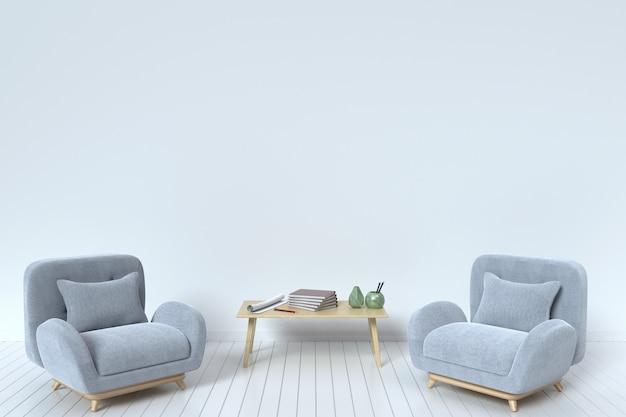 Dentro do sofá de tecido com almofadas e livro em uma parede de fundo branco