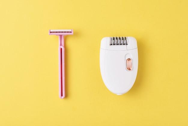 Depilador e navalha fr barbear em amarelo