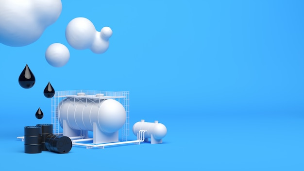 Depósito industrial com gotas e barris perto de nuvens brancas
