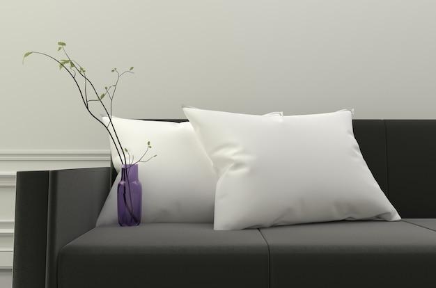 Descansos e plantas brancos no sofá preto. renderização 3d