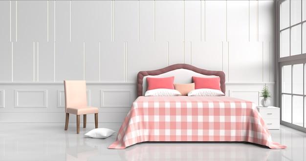 Descansos vermelhos da decoração branca da sala da cama, cobertor vermelho-alaranjado da tabela, cadeira, janela, teste padrão da parede. 3d