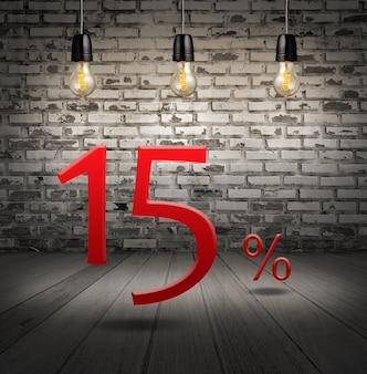 Desconto de 15% de desconto com oferta especial de texto com desconto no interior com tijolo branco