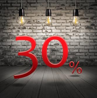 Desconto de 30% de desconto com oferta especial de texto com desconto no interior com tijolo branco