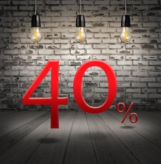 Desconto de 40% de desconto com oferta especial de texto seu desconto no interior com tijolo branco