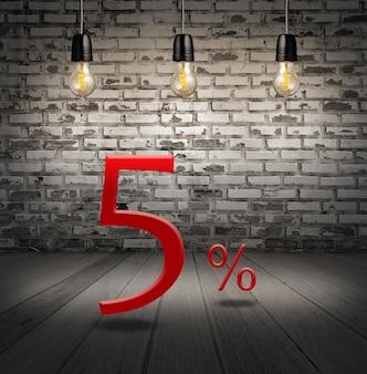 Desconto de 5% de desconto com oferta especial de texto seu desconto no interior com tijolo branco