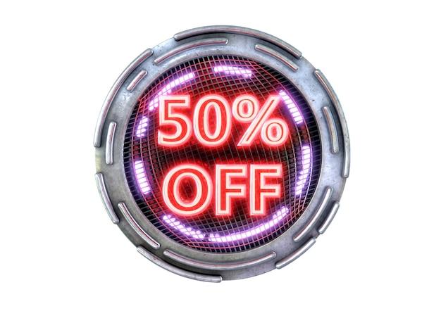 Desconto de 50% isolado na superfície branca, selo promocional cibernético vermelho metálico neon e produtos eletrônicos de tecnologia.