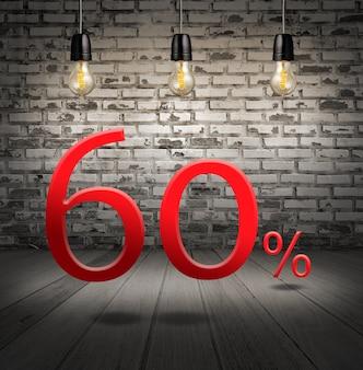 Desconto de 60% de desconto com oferta especial de texto com desconto no interior com tijolo branco