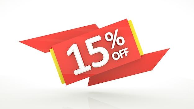 Desconto de até 15% na oferta especial modelo de banner de dígitos vermelhos em 3d 15 cupom de desconto de venda