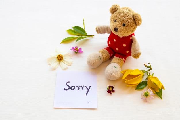 Desculpe mensagem cartão sagacidade ursinho de pelúcia arranjo estilo de cartão postal Foto Premium