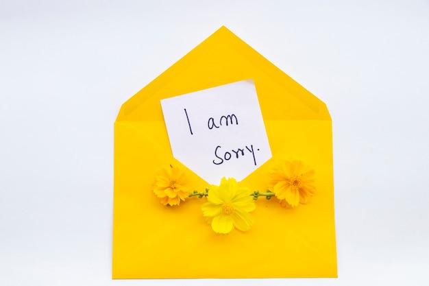 Desculpe, mensagem manuscrita em envelope