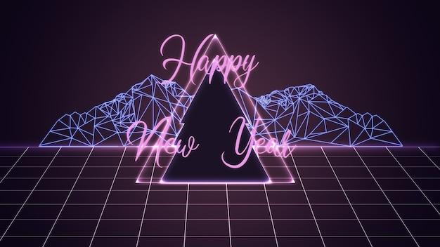 Desejos de ano novo de 2020 em design de estilo digital neon com cor roxa. conceito de ano novo e feliz natal, celebração e feriados, clima de inverno, feriados. flyer, cartão postal para publicidade.