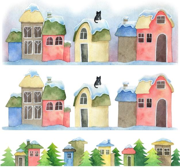 Desenhado casas de natal coloridas com neve no telhado