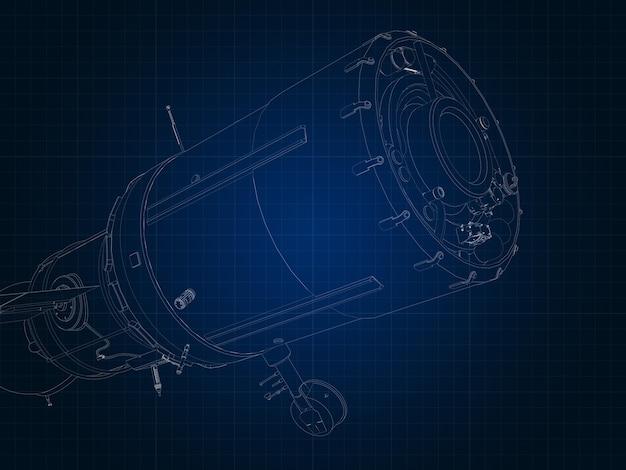 Desenhando a silhueta da nave espacial e suas partes em papel milimetrado azul