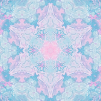 Desenhar com aquarelas, imagens abstratas para o fundo. elemento de design, cores rosa pastel e azul. flores geométricas, desfoque caleidoscópio