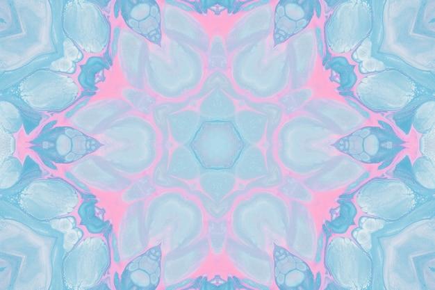 Desenhar com aquarelas, imagens abstratas para o fundo. elemento de design, cores rosa pastel e azul. flores geométricas, desfoque caleidoscópio Foto Premium