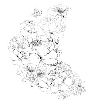 Desenhe a linha em preto e branco de folhas e flores em branco