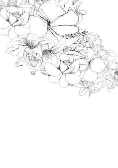 Desenhe a linha preto e branco de folhas e flores, em fundo branco